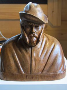 Pier Pander (1864-1919) - 'Brrr!' - Fisherman with a raincoat wooden sculpture