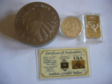 1 POUND   (16 OZ )  TITANIUM 999/1000   COIN USA LIBERTY INDIAN + grain gold 999/1000 + coin bullion