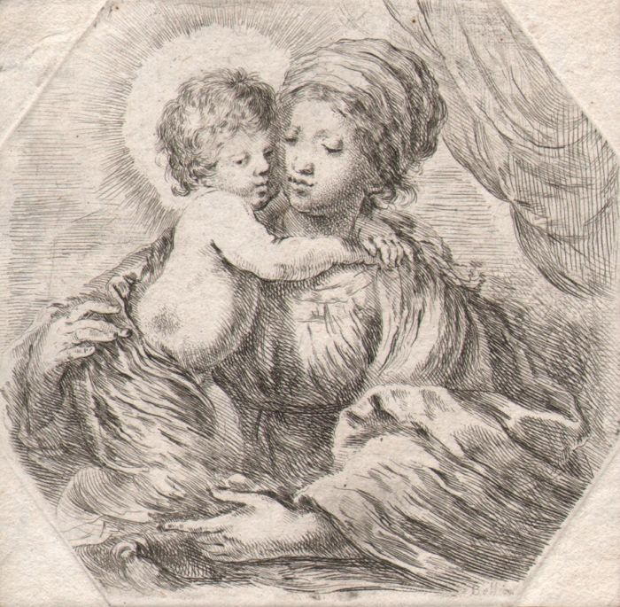 Stefano della Bella (1610-1664) - Virgin Mary with Child -  Octagonal etching - Ca 1650