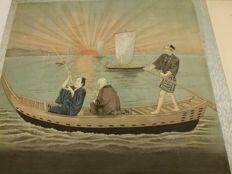 Album of five ink colour paintings on silk - Japan - Early 20th century (Meiji Period)