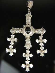 Large silver cross pendant with an onyx, Taxco, Mexico, 925 silver