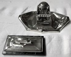 Rudolf Rochga (1875-1957) (attributed), Bruckmann & Söhne-Art Nouveau inkstand and paperweight