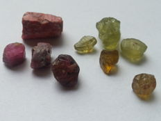 Lot of Garnet & Ruby - Mali & Mozambique - 70,85 ct (9)