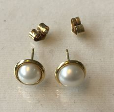 Gold  585 earrings with pearls, No reserve price.