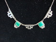 Art Deco silver-plated necklace with geometric lines and two green agates