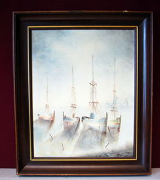 "Not clearly signed, ""Vissersschepen"", oil paintings"