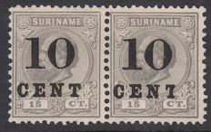 Suriname 1898 – Aid issue with overprint deviation – NVPH 30+30f