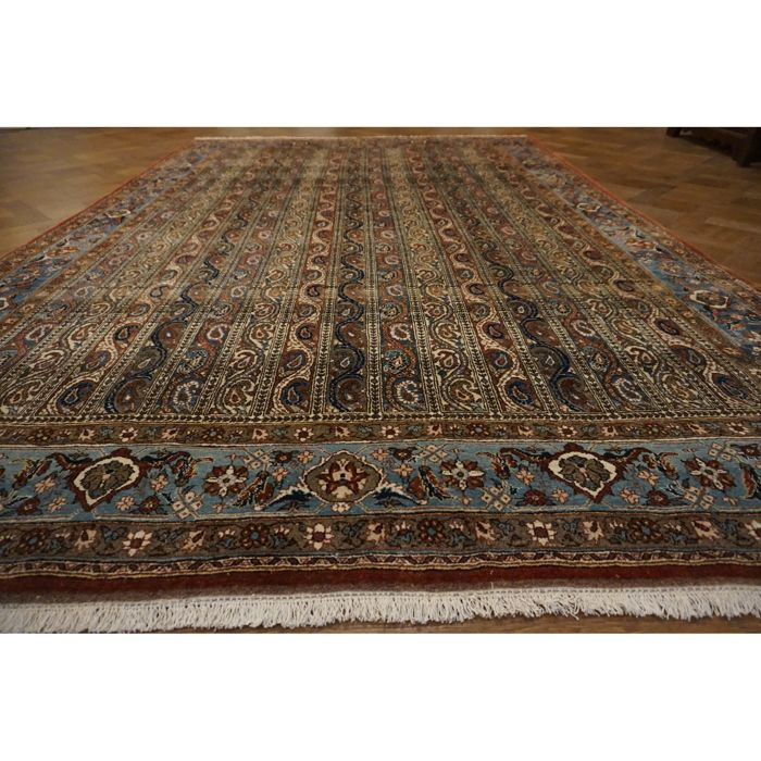Exclusive Semi Antique Hand Woven Persian Carpet Stripes Bote Qom Wool With Silk 315 X 215 Cm Made In Iran Catawiki