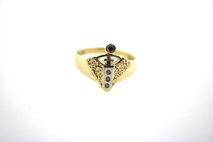 Modern briliant ring made of 14 kt gold with 0.10 ct VVSI TW - size 56 (EU)