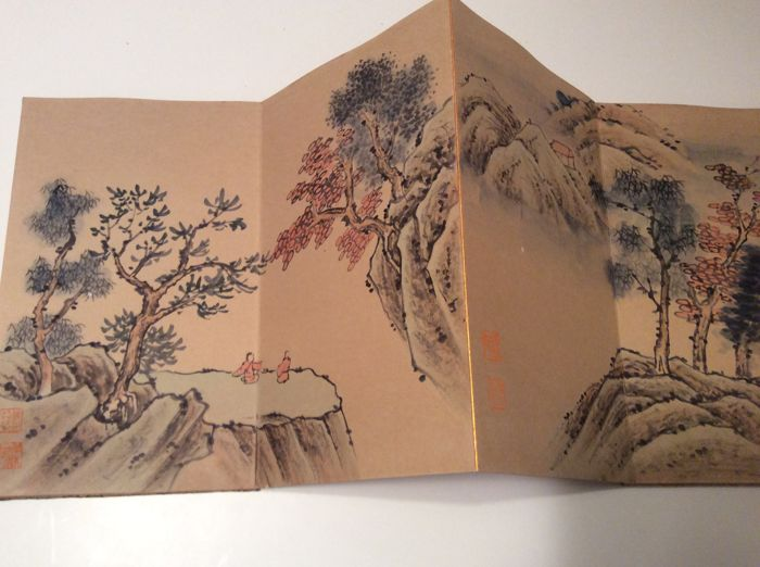 Hand Painted Album made after Feng chaoran, Landscapes  and Calligraphy - China - late 20 th C