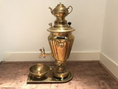 Copper samovar with Arabic stamps, complete with teapot, drip pan and tray - Middle-East - Late 19th century
