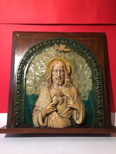 High relief Sacred Heart of Jesus in Caltagirone majolica, Sicily