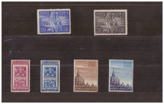 Vatican stamps from 1948-1953 - 3 series of airmails  Sassone no.  16/17, 20/21 and 22/23