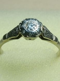 Art Deco ring - early 20th century - white gold set with 0.25 ct diamond solitaire