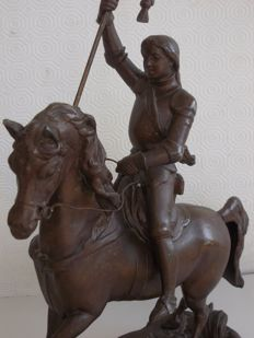 Large-sized bronzed antimony sculpture of Joan of Arc - France - circa 1900