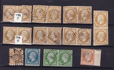 France 1853 – Composition Yvert 9, 12, 13A (pairs), 13B (pairs), 14B and 16