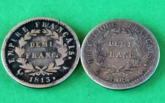 France - ½ Franc 1808-W & 1813-A (lot of 2 coins - Napoleon I - Silver