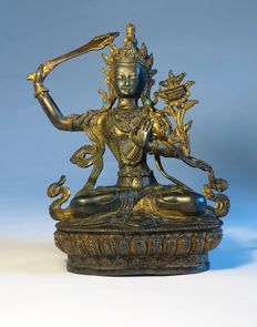 Jewelled Gilded Manjushri - Bronze -Sino Tibetan - late 20th century
