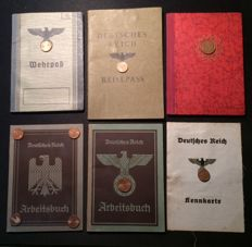 Military ID card with in total 6 various ID cards from the time of 3rd Reich and 2.  World War