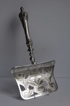 Silver asparagus scoop, Germany, Josef Arnold, Hamburg, 1900