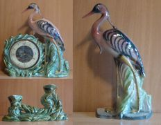 Unique statue of a heron and a heron/clock with 2 candlesticks made by HUBERT BEQUET - Quaregnon Belgium