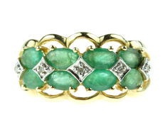 14 kt gold fantasy women's ring set with emerald and diamonds – ring size 17