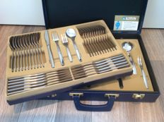 "Amefa ""Seventies"" - 12 people 65-piece cutlery case - 18/10 stainless steel, 1970 The Netherlands"
