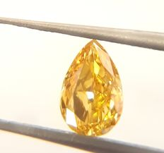 0.50 ct Pear Shaped Fancy Intense Orange- Yellow Diamond- SI2