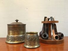 Tobacco jar, pipe rack and cigarette jar.
