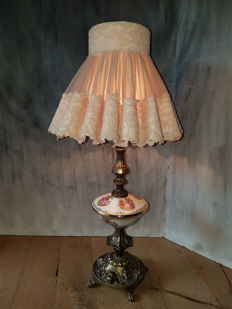 Lamp in Limoges style with angels foot - France - ca. 1960