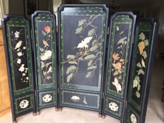 Chinese folding screen consisting of 5 panels - China - mid 20th century