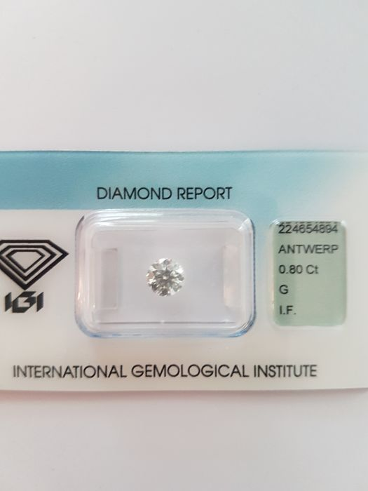 0.80 ct brilliant cut diamond, G, I.F
