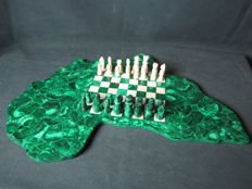 Complete malachite and soapstone chess game - D.R. Congo