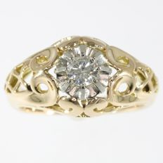 Gold mens ring with one diamond - Made in France in the Fifties - free resizing - circa 1950