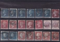 Great Britain, Queen Victoria - 21 pieces on a stock card