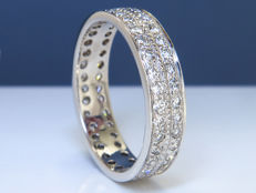 1.02 Ct eternity diamond ring - Size: 57 - 18K white gold -  NO Reserve!