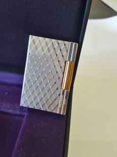 "S.T Lighter Dupont Gatsby ""Dual Tone"" - Silver and Gold - rare design with diagonal lines, revised, lighter, briquet, feuerzeug"