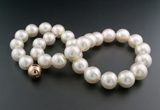 LUXURY South Sea Cultured Pearl Necklace 14-16.5 mm white fine lustre Top Quality 14kt rose gold * NO RESERVE! *
