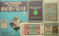 German Arbeitsbucher: 2nd type from Sonneberg + 3 Banknotes + Hutchinsons Pictorial review of the War - WW2