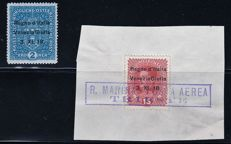 Venezia Giulia, 1918 - 2-Kronen Blue - Overprinted Austrian Stamp - R. Marina Airmail Trieste Cancelled - Sassone Nos.  15 and 6