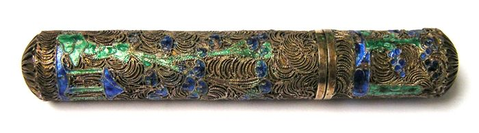 A silver needle tube - filigree, with enamel and  it is gilded, probably France, 19th century