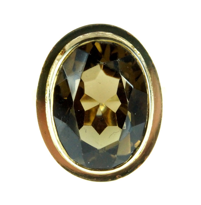 14 kt gold ring set with smoky topaz, large model, ring size 18.25