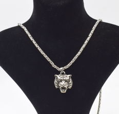 925 Italian sterling silver chain with  Panther   pendant   - 65  cm