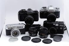 Lot of Yashica FX-3 super, Yashica FX-103, Yashica Auto Focus and Yashica Half 17 Rapid cameras and lenses
