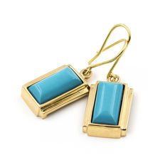 Yellow gold 18 kt/750 - Earrings - Turquoise - Earring height 29.80 mm