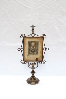 "Vatican rare large relic 1860 ""Veil of Veronica sudarium"", Holy Face of Jesus Christ."