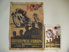 Propaganda / advertising poster of the NSKK for the European Grand Prix in the 3. Reich time document