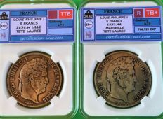 France - 5 Francs 1837-MA & 1838-W (lot of 2 coins) - Louis Philippe I - Silver
