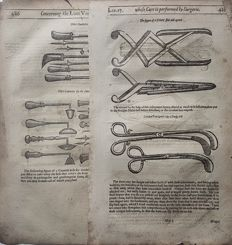 2 leaves with many prints by an Unknown artist (16th/17th century) formly published in PARÉ Ambroise - Medical Equipment.- 16th or early 17th century