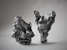Campo del Cielo - iron nickel meteorites - 39 x 32 mm and 45 x 28 mm - 30 g and 25 g (2)